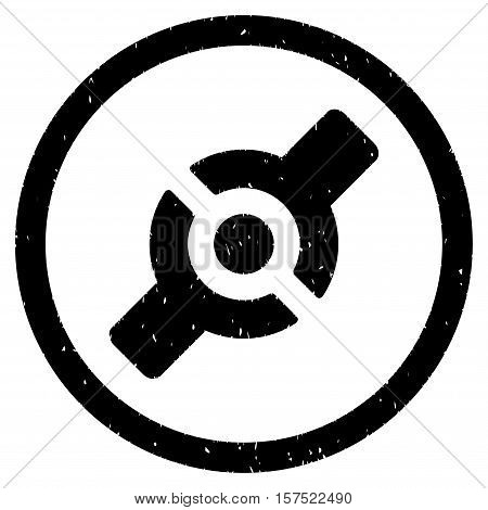 Artificial Joint grainy textured icon inside circle for overlay watermark stamps. Flat symbol with scratched texture.
