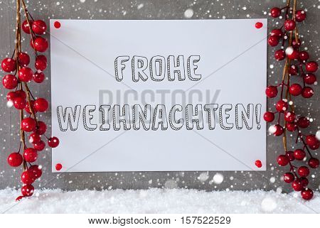 Label With German Text Frohe Weihnachten Means Merry Christmas. Red Christmas Decoration On Snow. Urban And Modern Cement Wall As Background With Snowflakes.