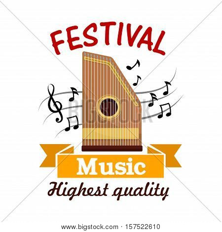 Music cartoon sign of isolated folk stringed musical instrument zither with note and treble clef on stave, adorned by ribbon banner. Ethnic music festival, musical instrument theme design