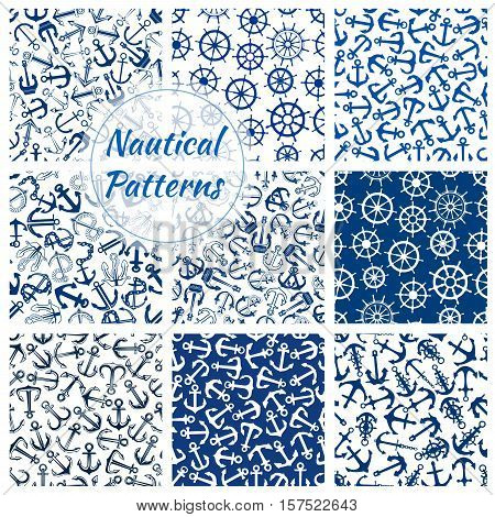 Nautical ship equipment seamless patterns of blue and white helm, anchor and steering wheel with chain and rope. Sea travel, summer vacation and water transportation themes design
