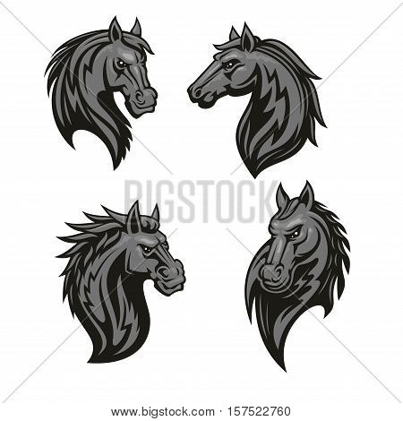 Black tribal horse icon. Mustang head sporting mascot set for equestrian sport, horse racing, tattoo or t-shirt print design