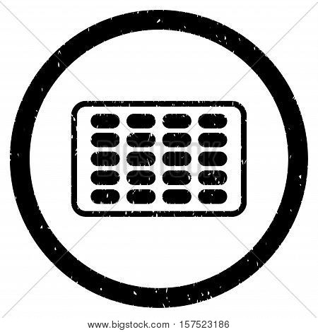 Blister grainy textured icon inside circle for overlay watermark stamps. Flat symbol with dirty texture. Circled dotted vector black ink rubber seal stamp with grunge design on a white background.