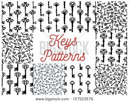 Vintage key seamless pattern set of old door key and victorian skeleton, decorated by gothic floral ornament. Interior accessory, scrapbook page backdrop design