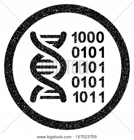 Genetical Code grainy textured icon inside circle for overlay watermark stamps. Flat symbol with scratched texture.