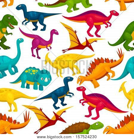 Dinosaur and jurassic animal seamless pattern. Tyrannosaurus, triceratop, stegosaurus, pterodactyl, t-rex, brontosaurus, velociraptor cartoon monster background