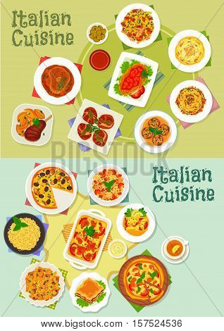 Italian cuisine pasta and pizza dishes icon set with ham, mushroom, shrimp and fish pasta, pizza with seafood, tomato and mozzarella, lasagna, spaghetti bolognese, risotto, beef and chicken dishes