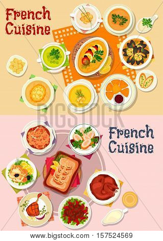 French cuisine national dishes icon with seafood stew, chicken in wine sauce, fried cheese, duck, rabbit and perch roast, vegetable and lentil soups, chicken roll with shrimp, fish souffle, baked cod