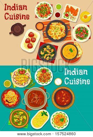 Indian cuisine dinner icon with lamb curry, chutney, vegetable and mushroom stew, vegetable salad, fried chilli, lentil soup, lemon rice, lamb meatball, rice with pork, yogurt dessert, fried milk ball