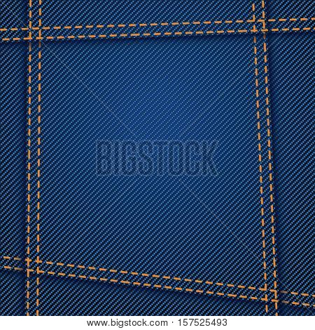 illustration of blue color jeans texture with seams
