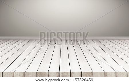 Wood floor with gray wall. interior empty space background