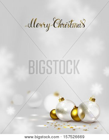elegant holiday background with gold and white transparent evening balls. Merry Christmas lettering.