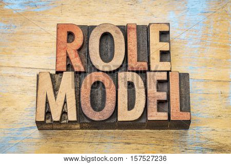 role model  - word abstract in vintage letterpress wood type printing blocks