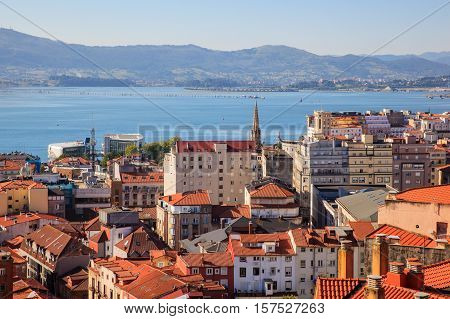 View of Santander roofs and sea, Cantabria. Spain