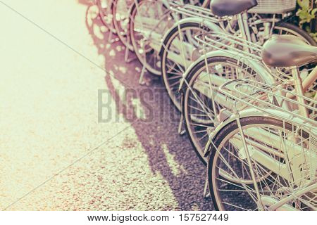Row of bikes parking ( Filtered image processed vintage effect. )