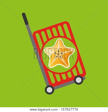 trolley shop juicy star carambola fruit vector illustration eps 10