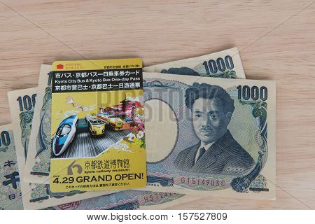 KYOTO, JAPAN - APRIL 30 , 2016 : Ticket Kyoto city bus Kyoto bus one - day pass. Kyoto, Japan. APRIL 30 2016. travel Kyoto by bus.