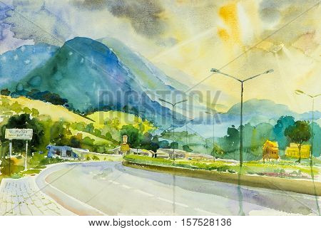 Painting art watercolor landscape original colorful of road to the mountain and emotion in clouds and sun background