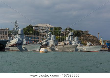 Sevastopol, Russia - June 09, 2016: Warships in Sevastopol naval base Black Sea Fleet at the Bay of Karantinnaya. Crimea