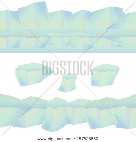 Icy cliff, iceberg, isolated ice. Seamless ice pattern. Cartoon style. It can be used for mobile game interface. Vector illustration.