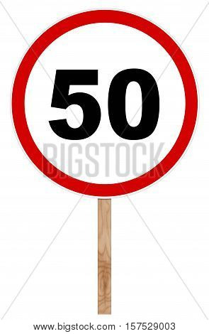 Prohibitory Traffic Sign - Speed Limit Fifty