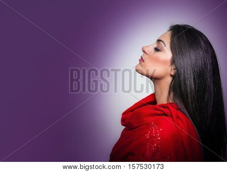 Portrait Of Gorgeous Young Woman With Closed Eyes, Profile On Purple Background