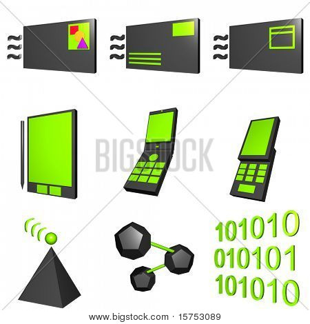 Mobile Market Icons Set Black and Green