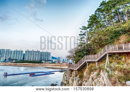 Busan Shot From A Walkway At Dadaepo Beach