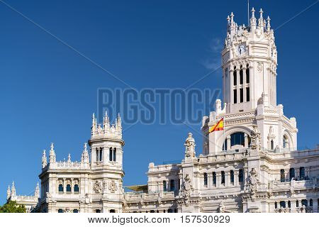 Clock Tower Of The Cybele Palace (palacio De Cibeles) In Madrid