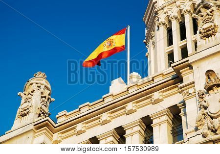 The Flag Of Spain Fluttering On The Cybele Palace, Madrid