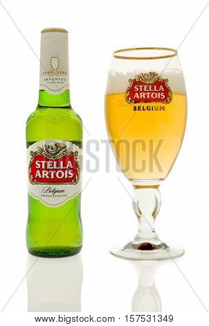 Winneconne WI - 20 November 2016: Bottle of Stella artois beer with a chalice full of Stella on an isolated background.