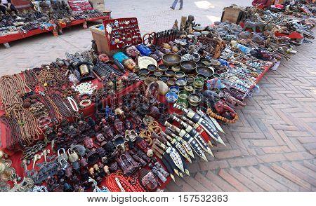 KATHMANDU NEPAL - NOV 06 2016: souvenirs in the shop at Durbar square in Kathmandu Nepal