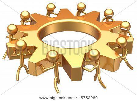Teamwork golden symbol
