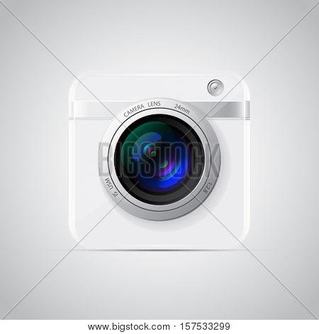 White Photo Camera Icon