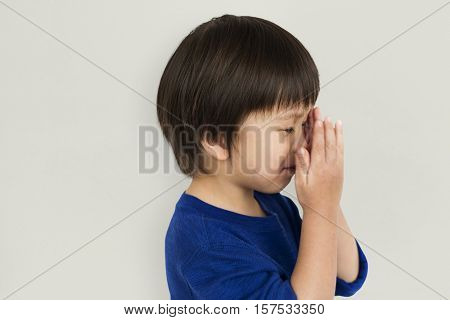 Scared Excited Small Asian Boy Portrait Concept
