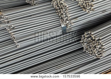Close Up Stack Of Steel Bar Or Steel Reinforcement Bar