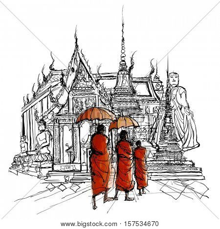 Thailand, monks in a temple - Vector and Illustration