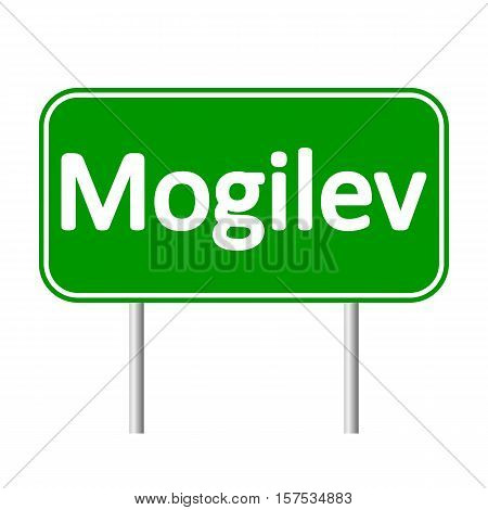 Mogilev road sign isolated on white background.