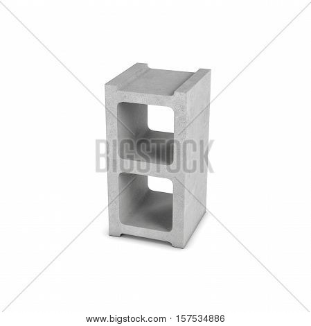3d rendering of cinder block isolated on a white background. Building materials. The construction industry. Renovation of premises.