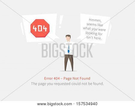 Error 404 page layout vector design. Website 404 page creative concept. 404 web page error creative design. Modern 404 page not found concept. The page you requested could not be found.