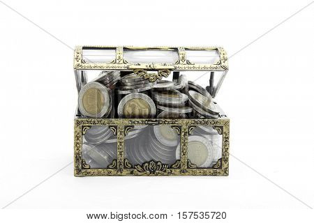 open chest with full wealth coins money inside isolated