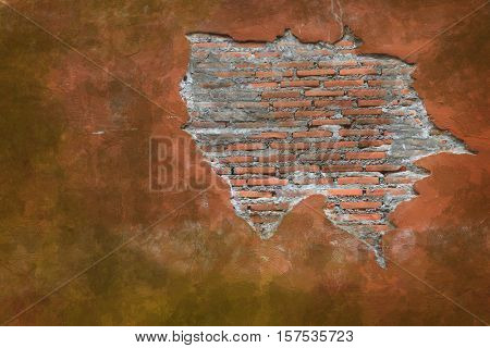 Cracking grunge weathered vintage and fragment of Red brick wall using as background