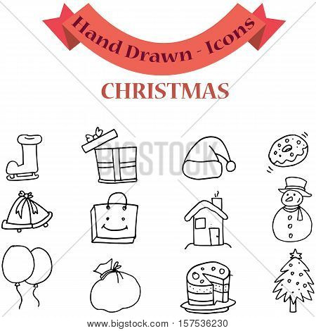 Christmas element set of vector art collection stock