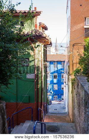 View of colorful buildings in Santander. Spain