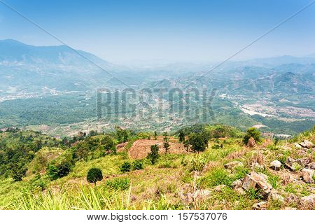 View Of The Valley In The Mountains Around Da Lat City (dalat) On The Blue Sky Background In Vietnam