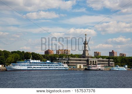 Passenger cruise ships are at berth Northern river station in Moscow. Built in 1937.