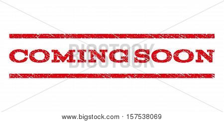 Coming Soon watermark stamp. Text caption between parallel lines with grunge design style. Rubber seal stamp with unclean texture. Vector red color ink imprint on a white background.