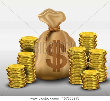 Illustration of  Money bag with gold coins dollars