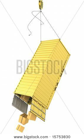 Yellow Container Falling After Accidentally Detaching Hooks
