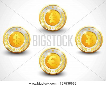 Set of golden and silver badges with some of currency signs