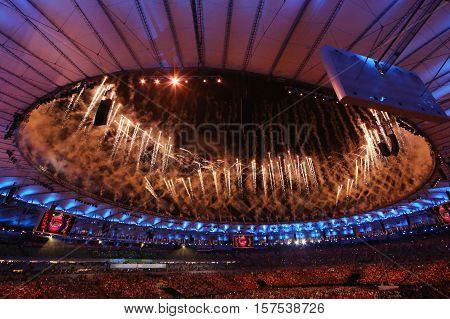 Fireworks during Rio 2016 Olympics Opening Ceremony at Maracana Stadium in Rio de Janeiro